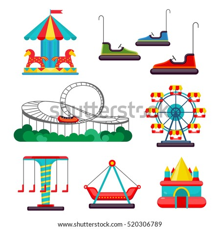 Amusement park ride. Set of attractions. Merry-go-round, roundabout, carousel, turnaround, electric cars, observation wheel, rollercoaster, bouncy castle isolated on white. Vector illustration