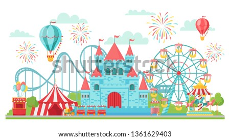 Amusement park. Roller coaster, festival carousel and ferris wheel attractions. Circus funfair invitation card or fairground banner isolated vector illustration