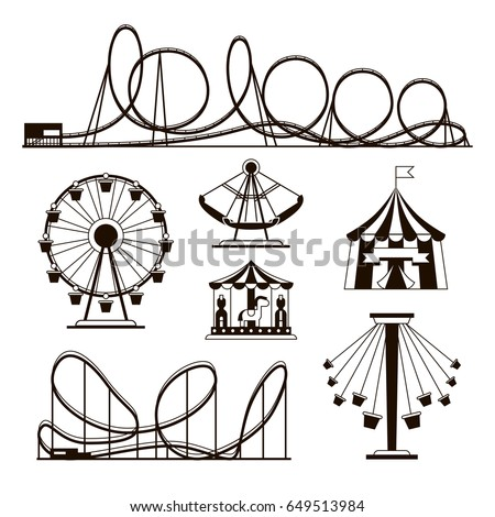Amusement park, roller coasters and carousel vector icons