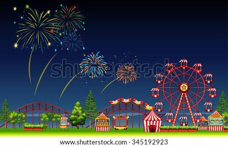 amusement park scene at night