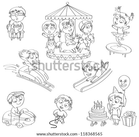 amusement park  set  children ride on the carousel  little