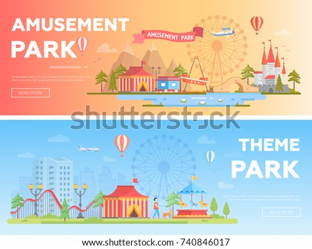 Amusement park - set of modern flat vector illustrations with place for text. Two variants of funfair. Lovely cityscape with attractions, house, big wheel, pond, roller coaster. Orange and blue colors