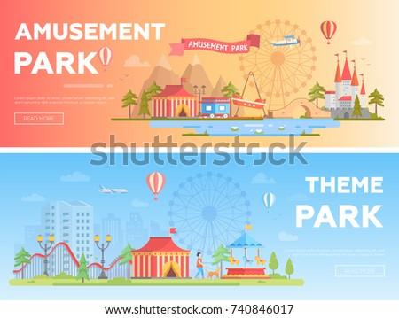amusement park   set of modern