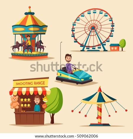 amusement park theme. cartoon...