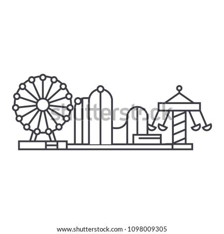 Amusement park thin line icon concept. Amusement park linear vector sign, symbol, illustration.