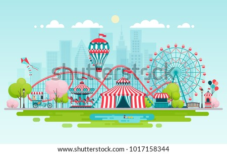 Amusement park, urban landscape with carousels, roller coaster and air balloon. Circus, Fun fair and Carnival theme vector illustration.