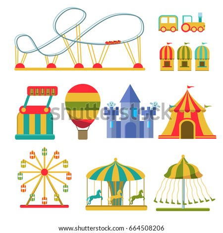 Amusement park vector flat elements isolated on white background. Colorful Ferris wheel, carousel, circus
