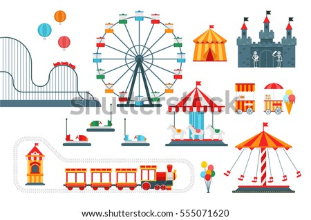amusement park vector flat