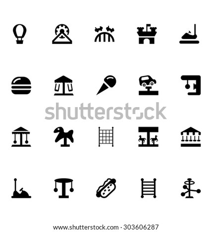 amusement park vector icons 2