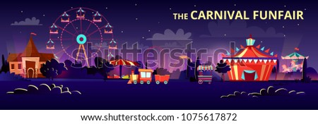 Amusement park vector illustration of funfair carnival at night or evening with cartoon rides. Flat merry-go-round carousels, circus tent or observation wheel and roller coaster rides with