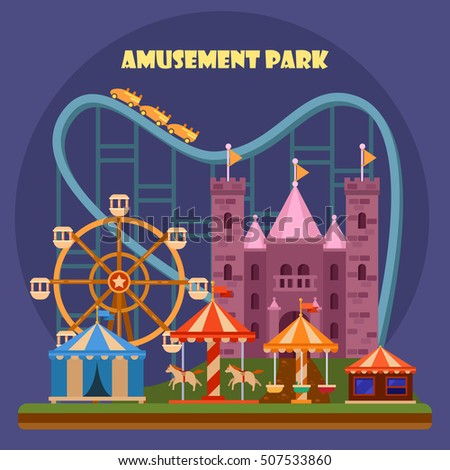 Amusement park with attraction and rollercoaster, tent with circus, carousel or round attraction, merry go round, ferris wheel. Amazing entertainment show, people recreation or holiday theme