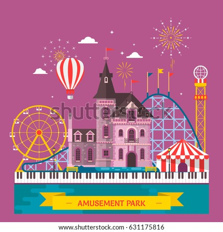 amusement park with attraction...
