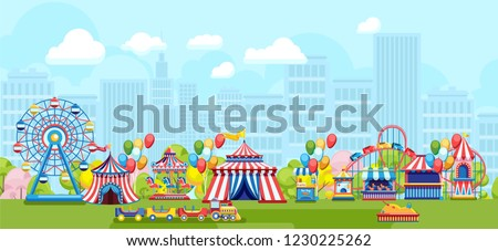 Amusement park with Ferris wheel and kids playground on simple urban background. Cartoon amusement park concept on sunny summer day with balloon, hourse carousel, kids train and other kids amusement