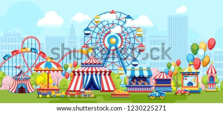 Amusement park with Ferris wheel and kids playground on simple urban background. Cartoon amusement park conception on sunny summer day with balloon, carousel, kids train and other amusement for kids.