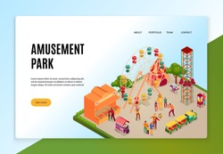 Amusement park with visitors during entertainments isometric concept of web banner on light background vector illustration