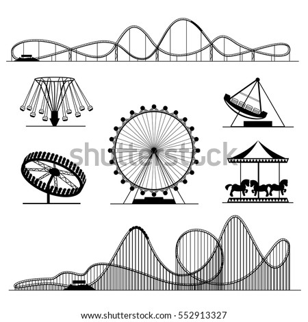 Amusement ride or luna park roller coasters entertainment vector set. Rollercoaster and swing, whirligig and ferris illustration