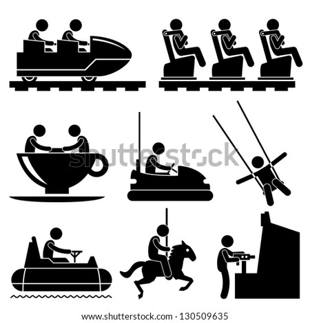 Amusement Theme Park People Playing Stick Figure Pictogram Icon