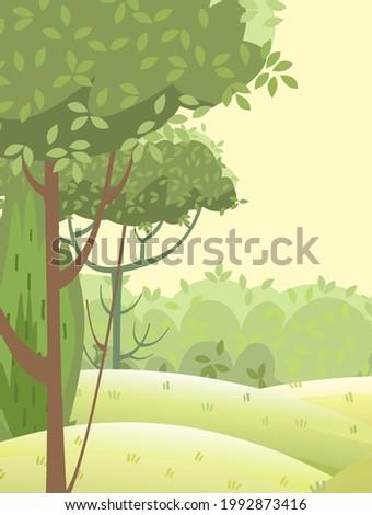 Amusing beautiful forest landscape. Cartoon style. Grass hills. Distant horizon. Rural natural look. Cool romantic pretty. Flat design illustration. Vector art