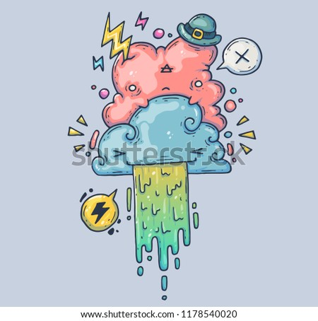 Amusing clouds. Pink cloud in a funny hat. Cartoon illustration for print and web. Character in the modern graphic style. Trendy style.