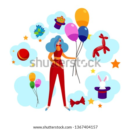 Amusing Clown Girl Wearing Costume, Neck Tie and Blue Curly Wig Holding Colorful Balloons inside of Various Items for Entertainment Show as Rabbit, Flowers, Top Hat. Cartoon Flat Vector Illustration.