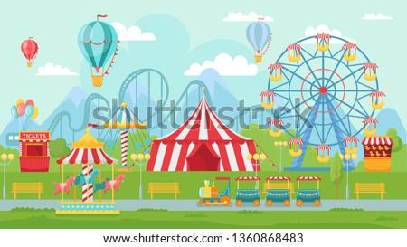 Amusing park festival. Amusement attractions landscape, kids carousel and ferris wheel attraction. Circus entertainment, fair amusement or carnival wheels vector illustration