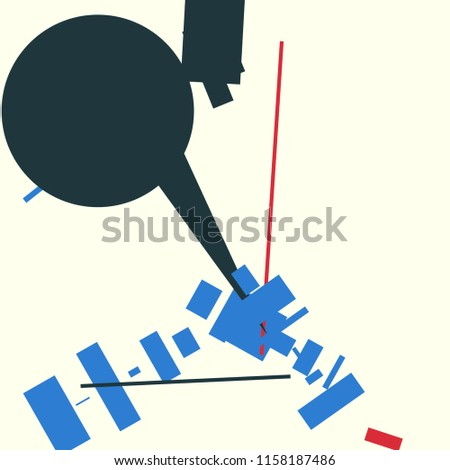 An abstract composition consisting of chaotically scattered geometric elements. Vector illustration of a style of supermatism. Creative retro poster.