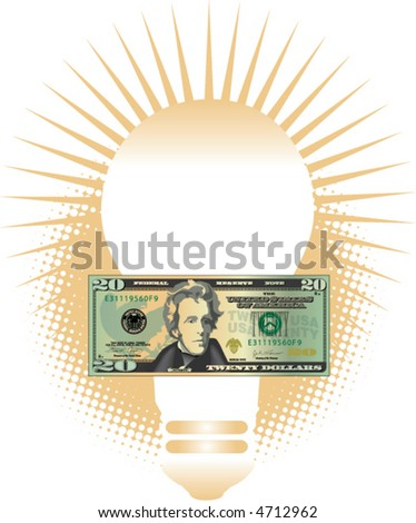 An abstract light bulb with a twenty dollar bill in front