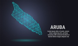 An abstract line polygonal map on a dark background. Wireframe 3D mesh polygonal network line, design sphere, dot, and structure. communications map of Aruba. Vector. EPS 10