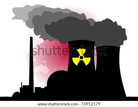 An abstract vector illustration of a nuclear power plant and its dangers.