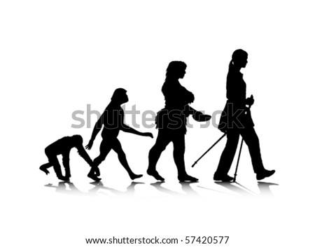 An abstract vector illustration of human evolution.