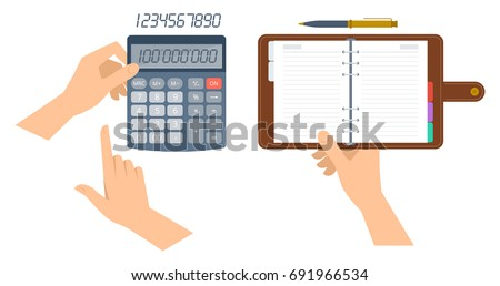 An accountant holds office calculator and counts business income. Hand holds paper organizer. Flat vector illustration of schedule planner with leather cover and electronic math school calculator.
