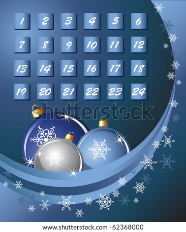 An Advent calender. Blue abstract background with Christmas Baubles and snowflakes. EPS10 vector format.
