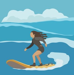 An adventure Woman surfing on big wave, illustration.