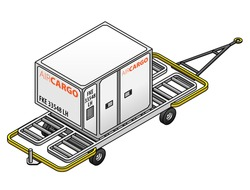 An air cargo container for loading into airplane cargo holds on a trolley.