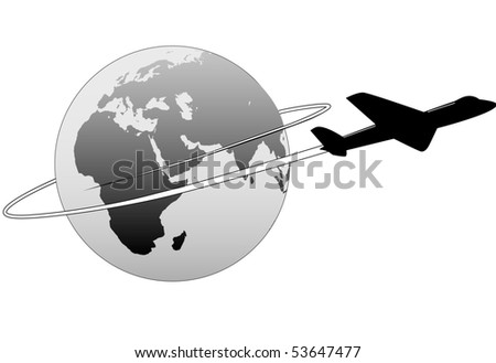 An airline passenger jet airplane travels around the world.