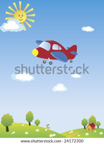 An airplane flying high in the blue sky with the yellow sun and blue clouds