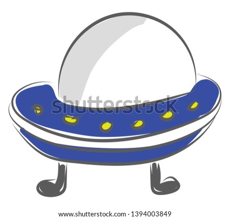 An alien spacecraft which has just arrived or ready to go vector color drawing or illustration