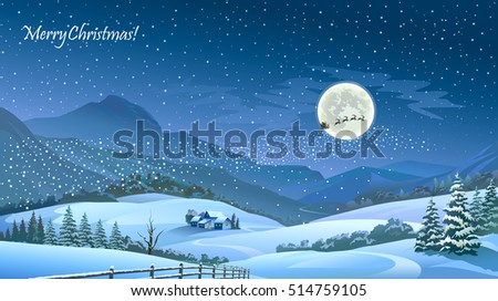 An Amazing Sight Of Santa Flying Over A Beautiful Snowy Landscape And The Mesmerizing Night Sky