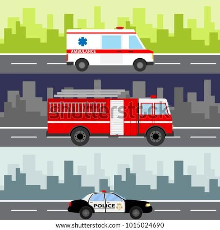 an ambulance  a fire truck  a