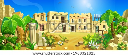 An ancient ancient town among sands, palms and mountains. Stone houses of the ancient world. Vector illustration.