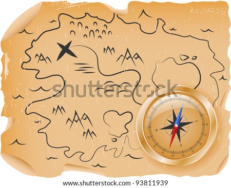 An ancient pirate treasure map with a compass