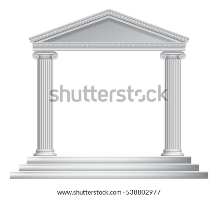 An ancient Roman or Greek temple with pillars or columns