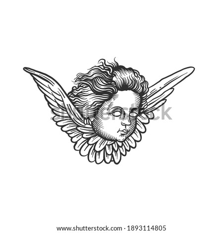 An angel with a wings. Can be used as a sketch of a tattoo.
