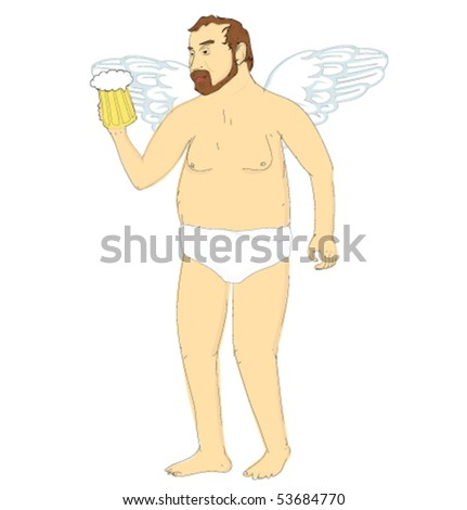 an angel with beer
