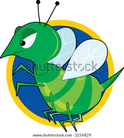 an angry green hornet with a