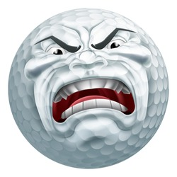 An angry mean looking golf ball sports cartoon mascot character