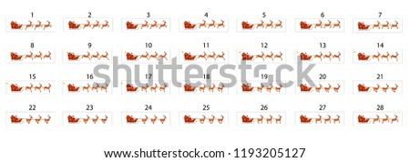 An animation of Santa Claus who rides a sleigh on reindeer. Santa Claus in a sleigh with three deers carrying gifts to children.
