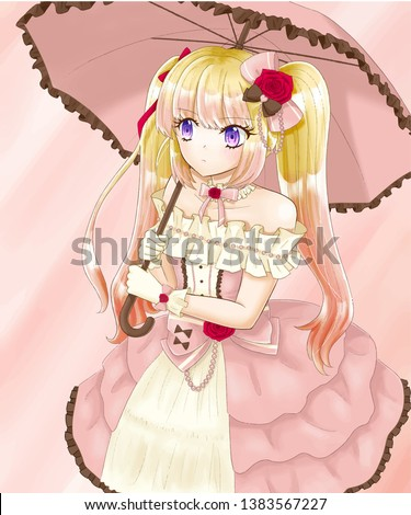 an anime blonde hair twin tail