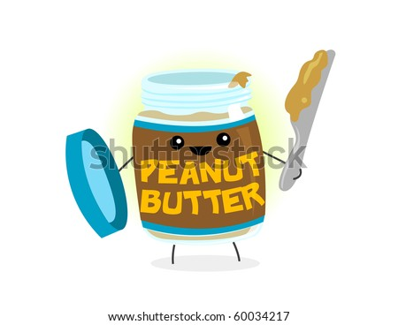 An anthropomorphic jar of peanut butter - VECTOR
