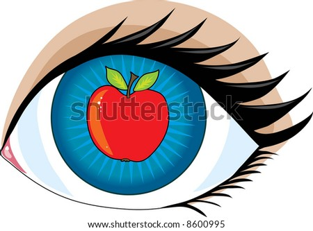 An Apple In The Center Of An Eye - The Apple Of My Eye Stock Vector ...